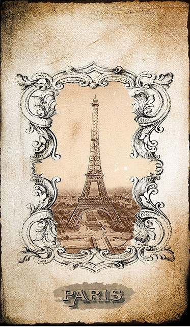 Eiffel Tower, Paris collage art graphic.  Would be great for image transfer.  Print a reverse copy with a laser printer and use Artisan Enhancements Transfer Gel!