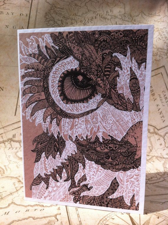 Owl Greeting CardGreeting cardsHanddrawn by RosehartStudio on Etsy