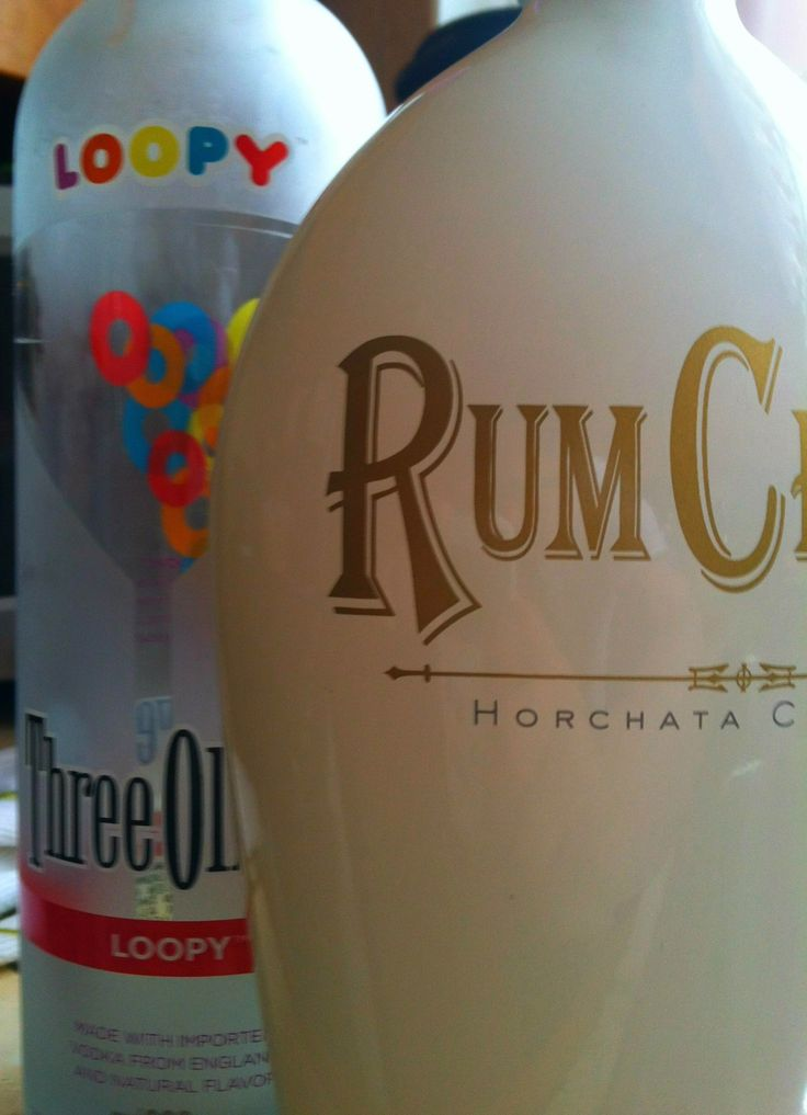 """Rumchata and three olives """"loopy"""" vodka - Fruit loops drink"""