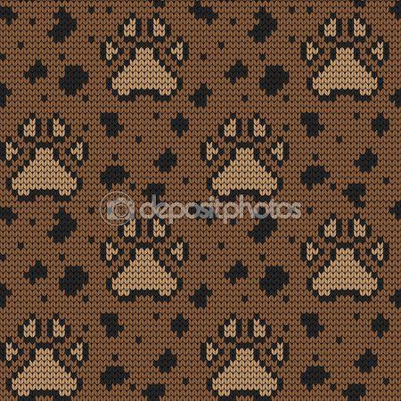 Örme seamless modeli hayvan yastıkları — Stok Vektör © galagalina19.gmail.com #97784978