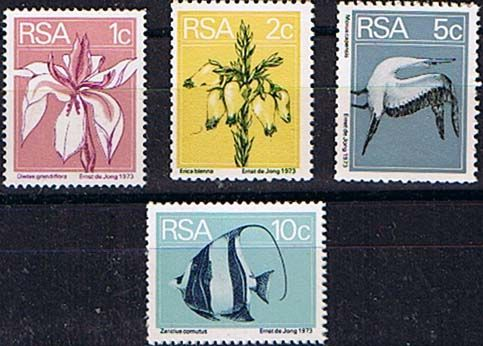 South Africa 1974 Flowers Birds and Fish Coil Set Fine Mint   SG 370/3 Scott  430/3