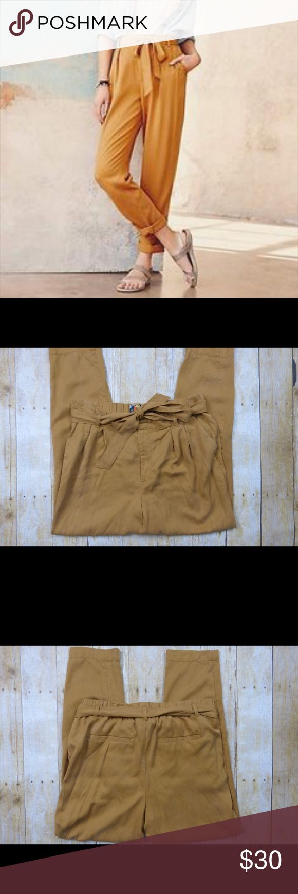 """Anthropologie Cartonnier Mustard Yellow Pants Like new condition 100% tensel Elastic waist Removable belt 10.5"""" rise 27"""" inseam Anthropologie Pants"""
