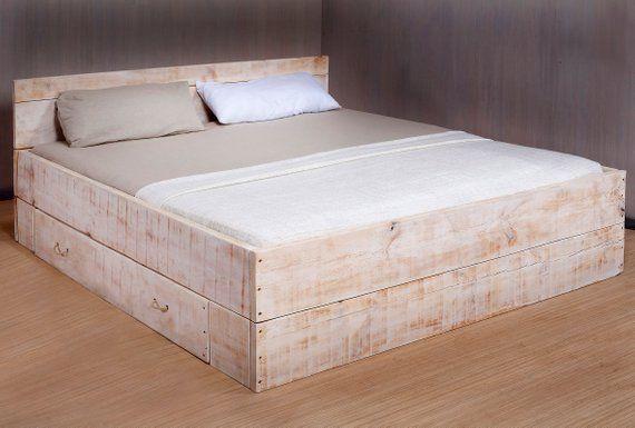 Bed Lunas 1x Bed Box Large White Wash Bed Lunas 1x Bed Box Large White Wash Etsy Bed In 2020 Rustic White Furniture Diy King Bed Frame White Bedroom Furniture