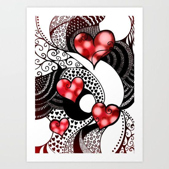 Tangled, Heart, Red, Black, White, Crimson, Love, Romantic, Zentangle, Pen, Traditional, Digital, Dots, Polkadots, Pattern, Impressionism, Surrealism, Scrollwork, Stripes, Creative, Swirls, Spots, Gradient, Feminine, Figurative, Contrast, Monochrome