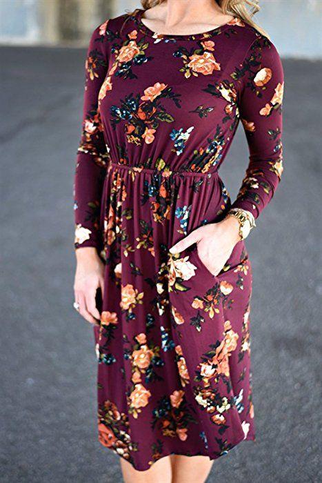 5ab863ec3f7 ZESICA Women s Long Sleeve Floral Pockets Casual Swing Pleated T-shirt Dress