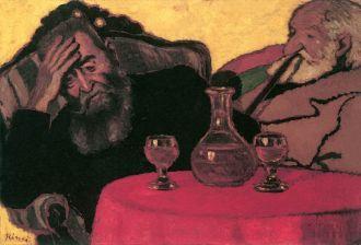 Rippl Rónai József- Apám és Piacsek bácsi vörösbor mellett (1907)