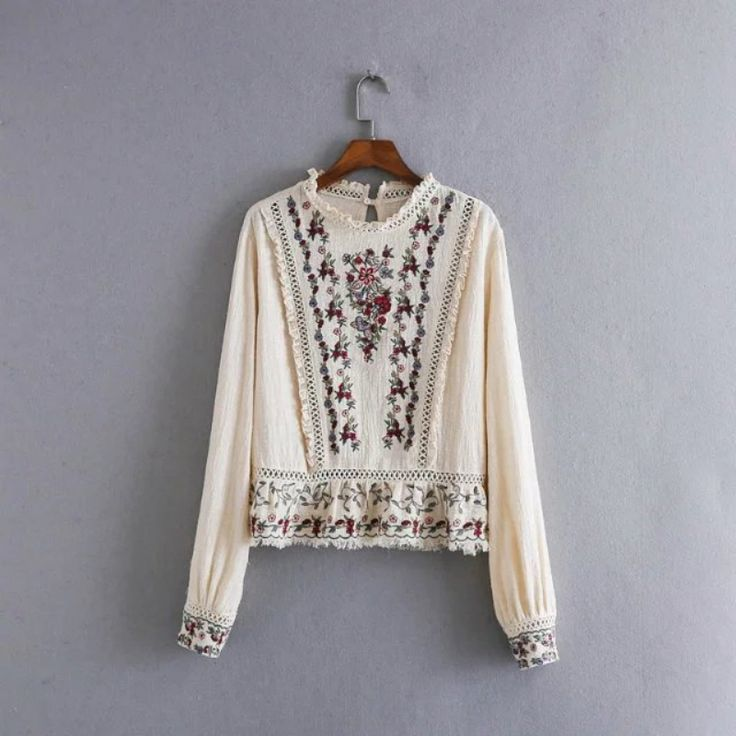 Casual Women Flower Embroidery T-Shirt Spring Autumn T Shirt Long Sleeve Female Clothing #Affiliate