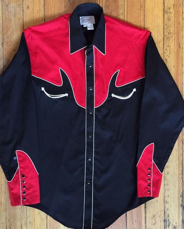 Rockmount Ranch nosiť pánske Vintage západnej košele: AA Two Tone Kombinácia klasickej čiernej farbe červenej S-XL