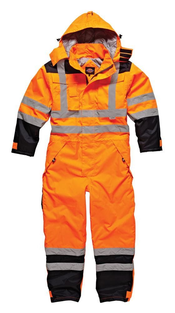 Dickies Workwear - High Visibility Waterproof Coverall - Orange/Navy SA7000