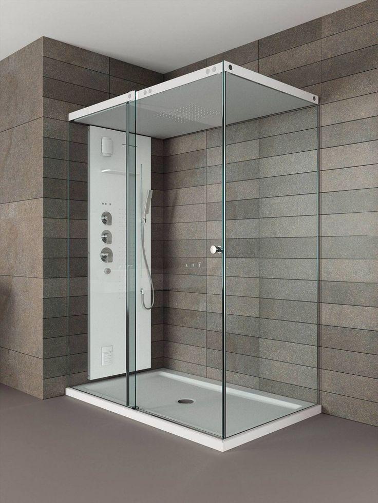 ll box doccia Light di Teuco con tetto e piatto in Duralight® ha colonna per vapore, getti effetto raining e a cascata