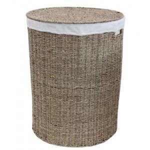 Seagrass Round Laundry Basket Lined Linen Wash Storage Washing Bin Small Large  | eBay