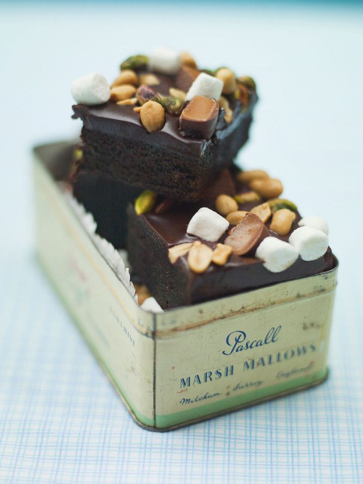 Rocky road brownies in a beautiful old tin (from: One more slice - Leila Lindholm)