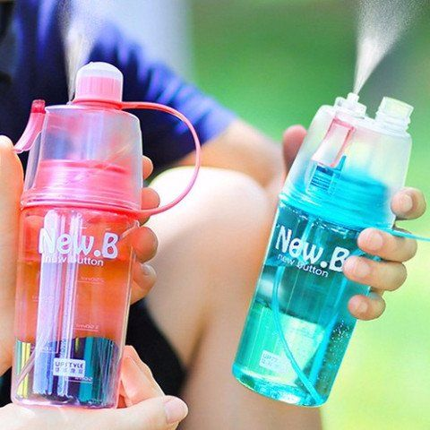 Lightweight, durable and leak-proof portable sports water bottle with a built-in water-cooling spray. The magical spray mouth allows you to eject refreshing moisturizing mist at the touch of a button. Perfect for gym, running, yoga, pilates & travelling. - Fitness, Gym & Yoga accessories for the hottest gift ideas and must have products. Stay motivated.