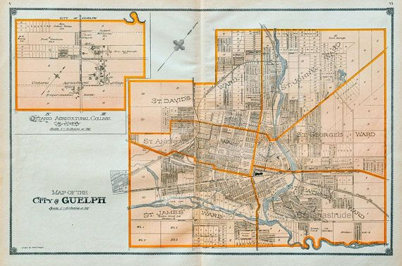 Map Of Wellington County Ontario Canada 1906 Rare Large Antique Map of the City of Guelph, Wellington