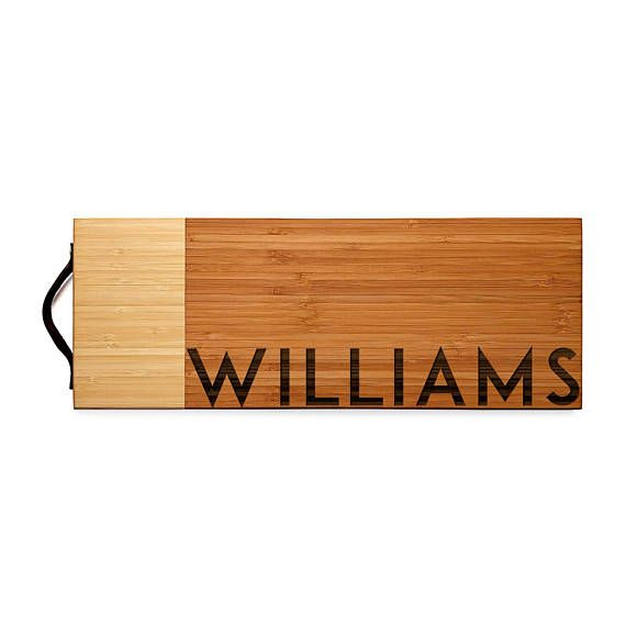 Personalized Serving and Cutting Board, Two Toned, 6 x 16 in. Wood Cutting Board, Engraved, Wedding Gift, Holiday Gift, Housewarming, Decor
