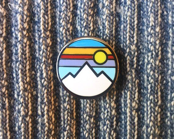 Mountain - Hard Enamel Pin in 2019 | Products | Pin, patches, Jacket