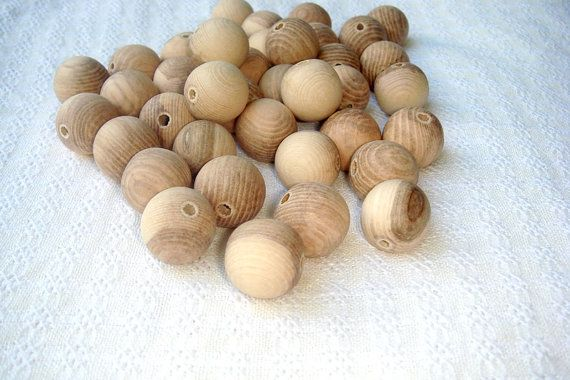 20 mm wooden beads 25 pcs   natural by MiracleFromThreads on Etsy, $4.00