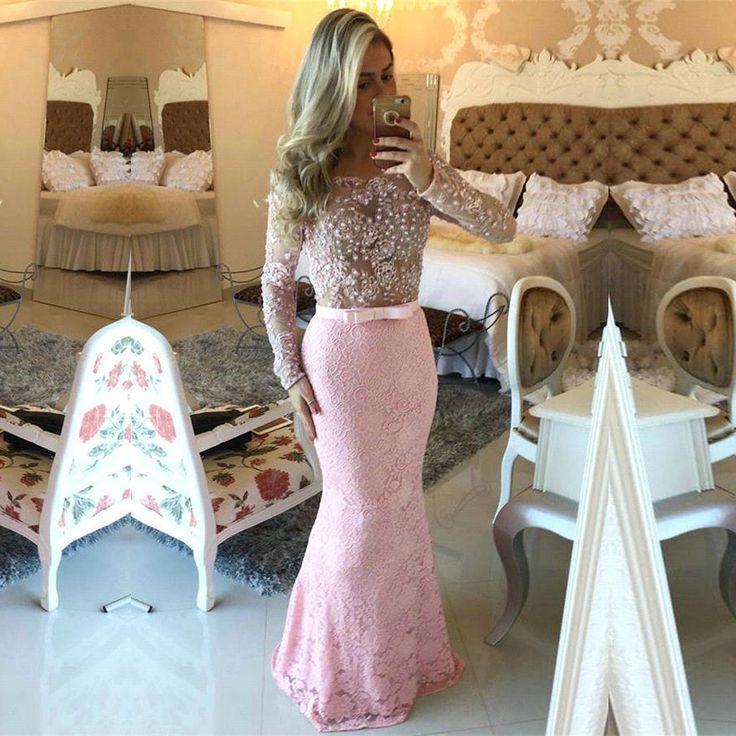 Kleid lang spitze rosa – Mode Kleider von 2018