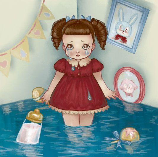 "Cry Baby by Melanie Martinez"" ""Saddest girl she has to be Salty tears stream down her cheek Her heart's bigger than her body Her name is cry baby"""