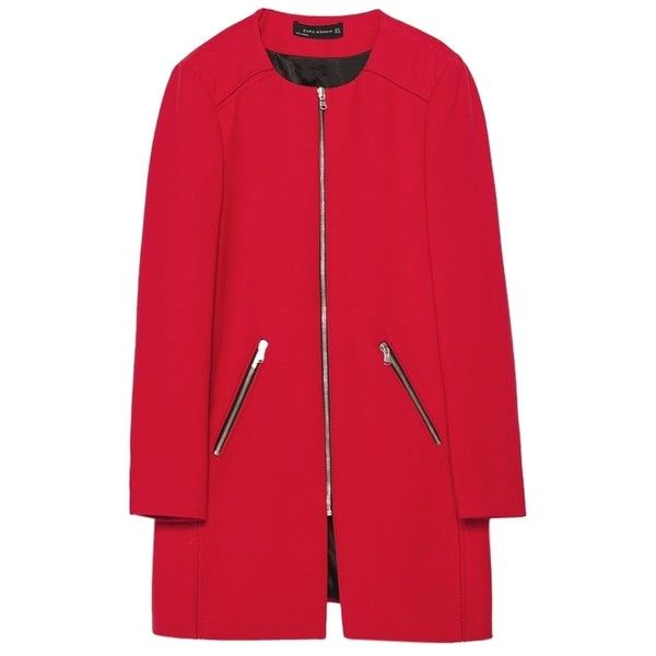 Pre-owned Zara Round Neck Zips Spring Fall Jacket New Xs Trench Coat ($149) ❤ liked on Polyvore featuring outerwear, coats, jackets, red, zip coat, red coat, zip trench coat, red trenchcoat and zara coat