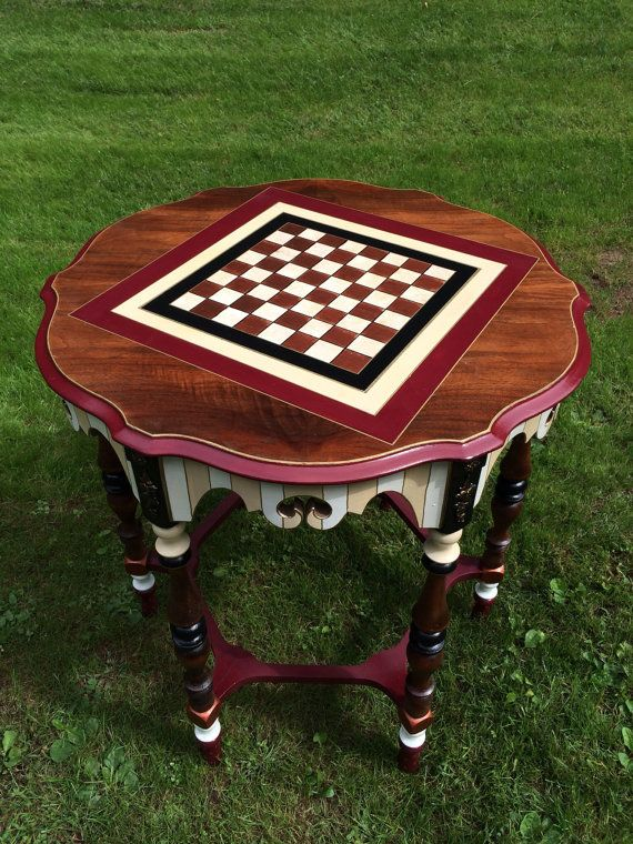 Checkers Game Table Chess Game Table Custom by paintingbymichele