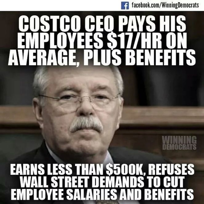 Costco CEO pays his employees $17/hour on average, plus benefits, earns less than $500K, refuses Wall Street demands to cut employee salaries and benefits.