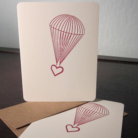 Parachute Heart Gocco Screenprinted Card 6Pack by twoguitars, $15.00