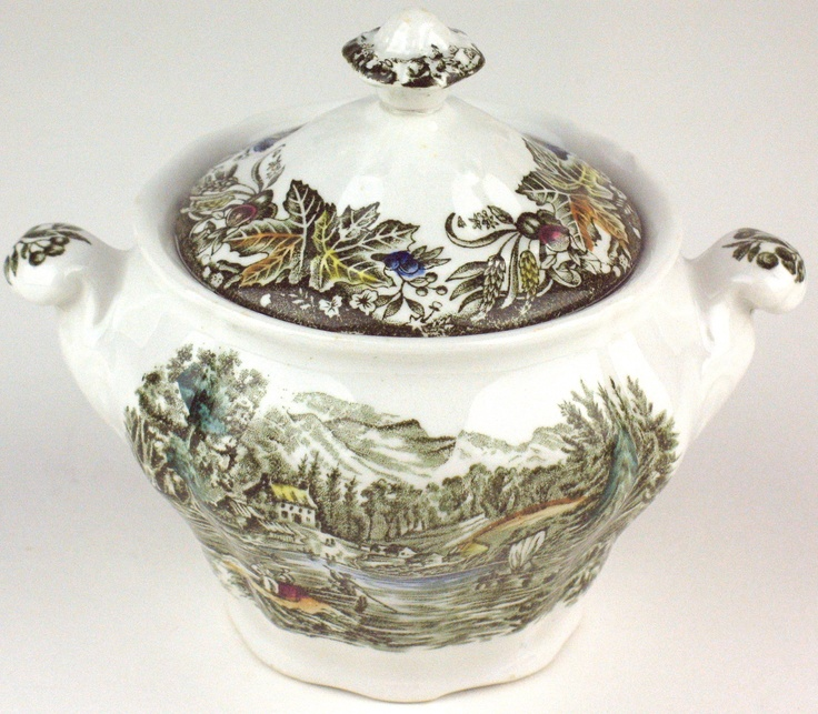 """Heritage pattern by Ridgway Pottery - sugar bowl with lid - 4 1/2"""" tall - Lake Farm on the Frontier"""