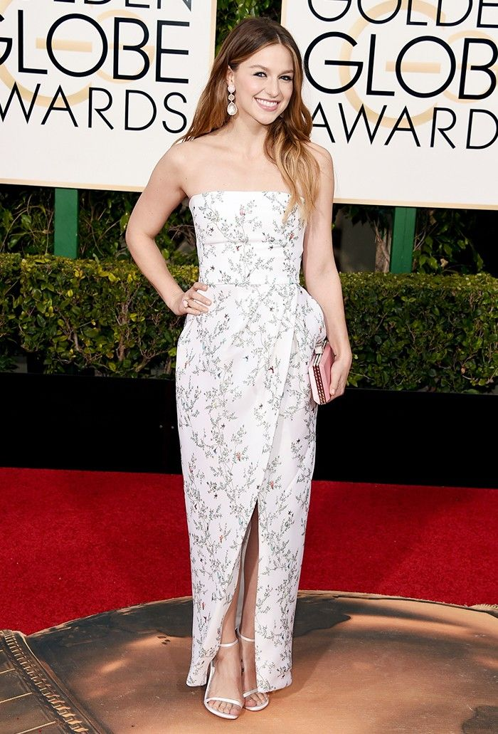 Melissa Benoist - Monique Lhuillier white strapless printed tulip dress; Stuart Weitzman shoes. The Golden Globes Red Carpet Looks You Have to See via @WhoWhatWear