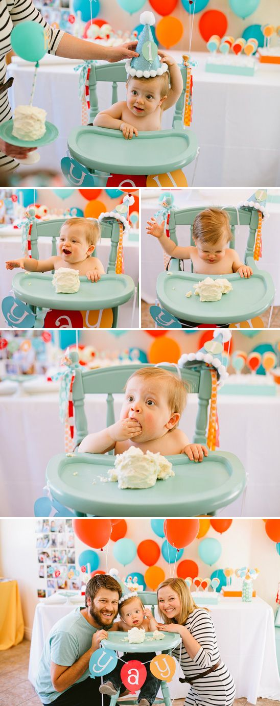 Bright and Happy Balloon Themed Birthday Party, love the balloon cookies in the background and all the balloons behind the baby.