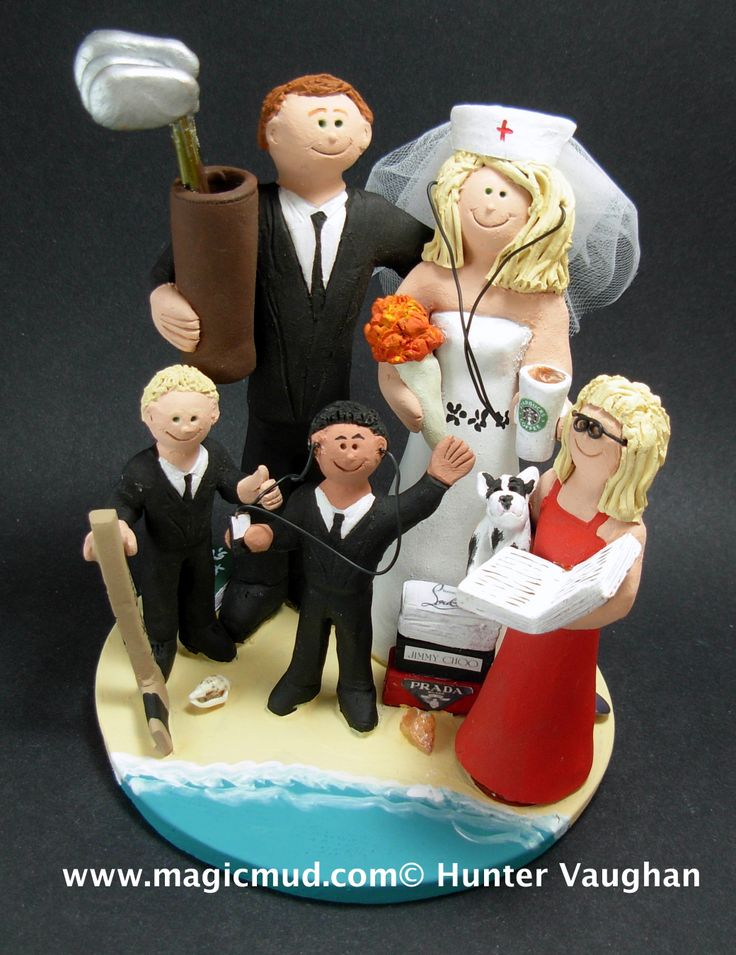 Nurse and Family Wedding Cake Topper http://www.magicmud.com   1 800 231 9814  magicmud@magicmud.com $235  https://twitter.com/caketoppers         https://www.facebook.com/PersonalizedWeddingCakeToppers   #nurse#nursing#wedding #cake #toppers #custom #personalized #Groom #bride #anniversary #birthday#weddingcaketoppers#cake-toppers#figurine#gift#wedding-cake-toppers