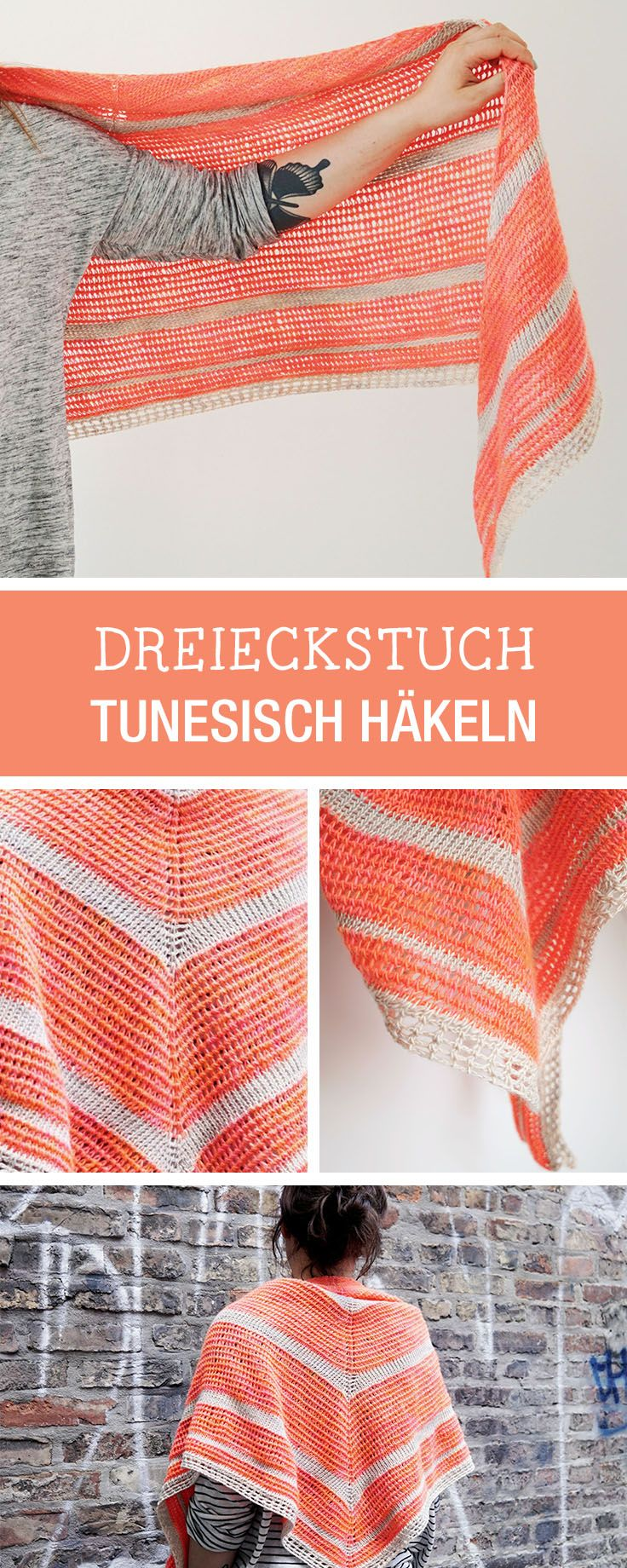 DIY-Anleitung: Dreieckstuch Tunesisch häkeln, Herbstaccessoires für Dein Outfut / DIY tutorial: crocheting a scarf the tunesian way, your fall accessory via DaWanda.com