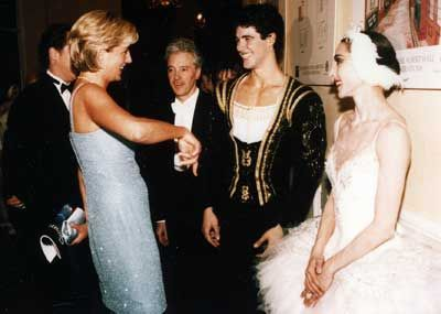 "June 3, 1997:  Diana, Princess of Wales discussing the performance of ""Swan Lake"" with principle dancers, Roberto Bolle and Altyynai Asylmmuratova at Royal Albert Hall."