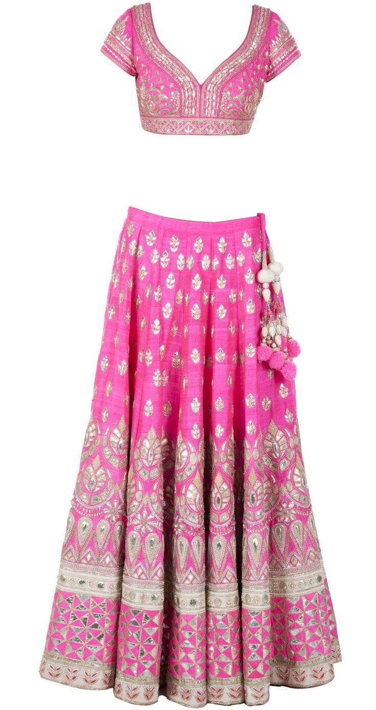 Pink gota pati embroidered lehenga