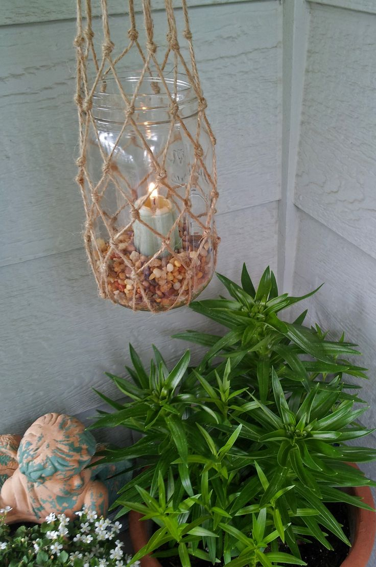 Easy DIY Knotted Candle Holder To Hang On Deck Or Patio. Insert Votive Or  Flameless