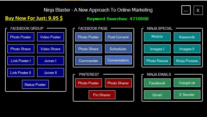 Ninja Blaster Best Marketing Software.Facebook Autoposter. TRY FOR FREE