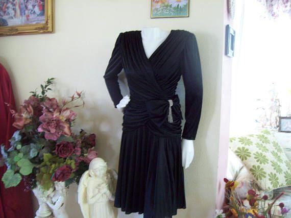 Taurus Nites Black Cocktail Dress with Stunning Rhinestone