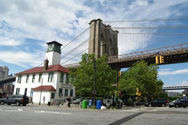 Brooklyn Bridge with Brooklyn Ice Cream Factory in the foreground.