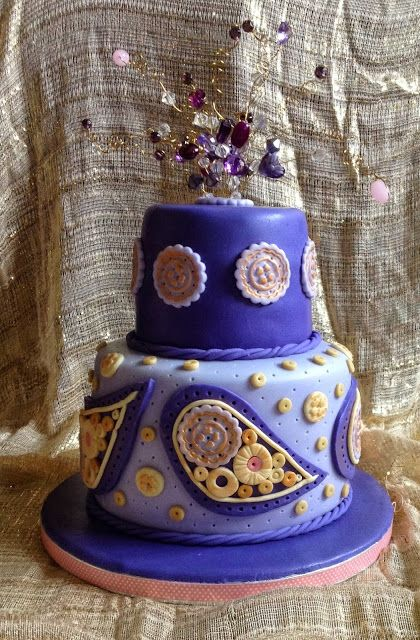 Paisley purple and gold 2-tier cake for my friend
