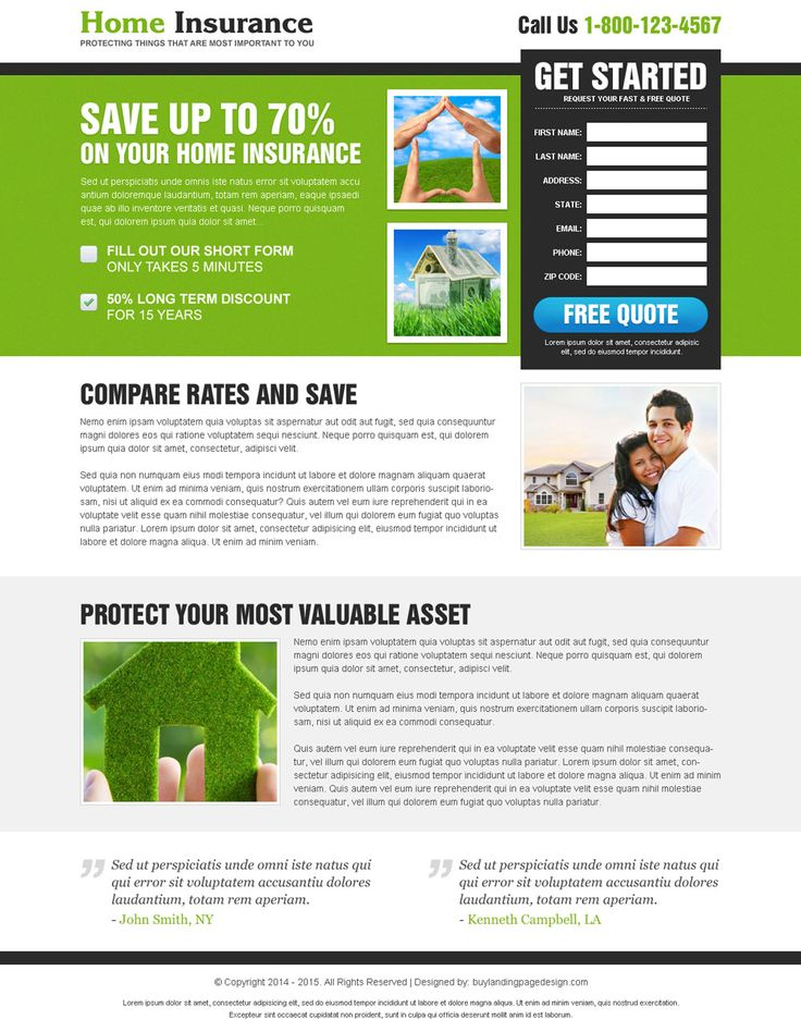 save on your home insurance optimized and clean home insurance landing page