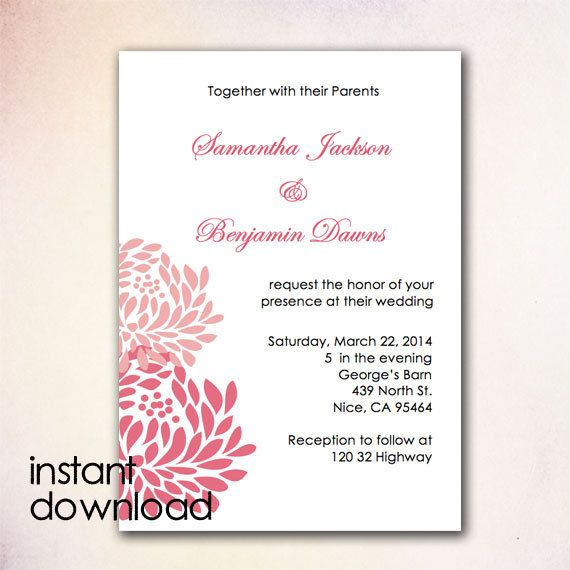 24 best DIY Wedding Invitation Templates - Instant Download images - microsoft word party invitation template