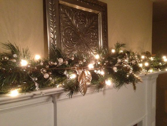 Christmas Mantle Swag, White and Silver Berry Mantle Garland with Lights, Christmas Decoration, Fireplace Swag, Staircase Garland