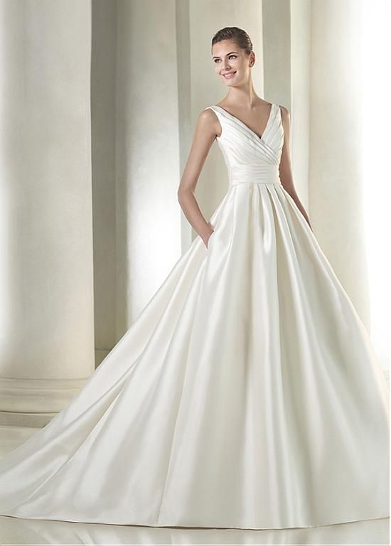 Elegant Satin V-neck Neckline Natural Waistline A-line Wedding Dress