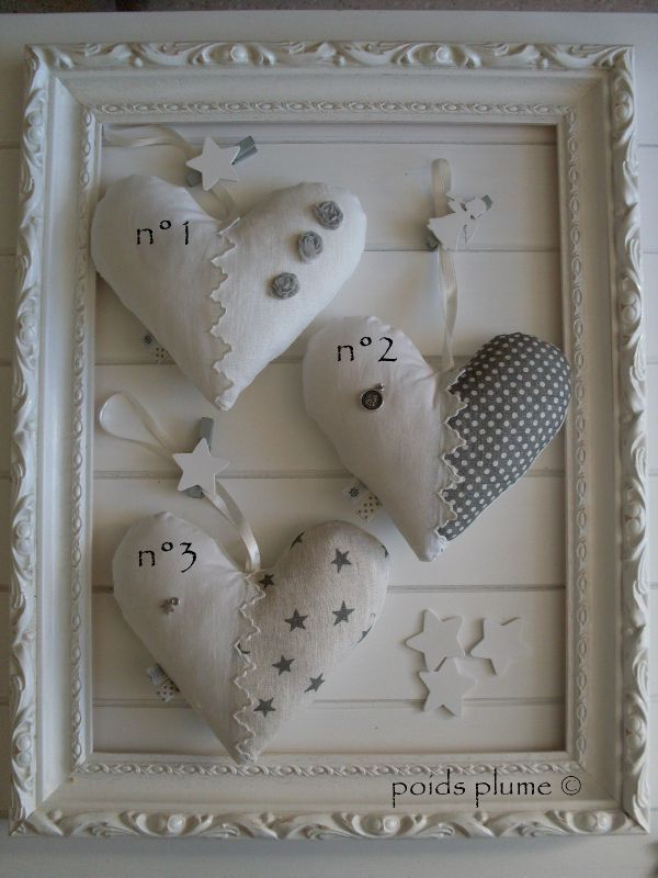 3 fabric hearts