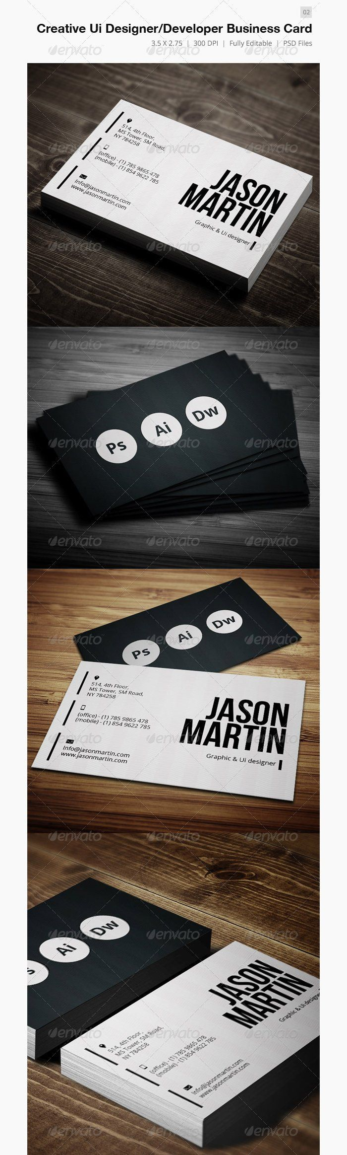 Creative UI Designer – Developer Business Card (Premium Template) by bouncy, for…
