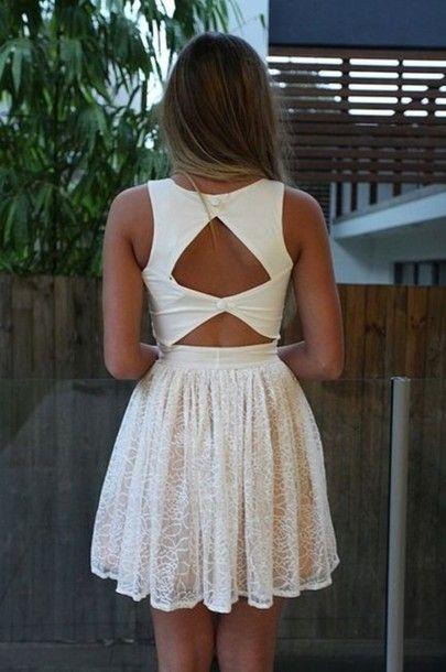 dress, white, lace, triangle, back, short, lace dress, open back, summer dress, white buttons, cute dress, fashion squad | Wheretoget.it