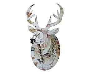 Cabeza de ciervo decorativa en cartón – multicolor