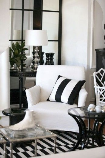 Best Black And White Living Room Décor White Arm Chair 400 x 300