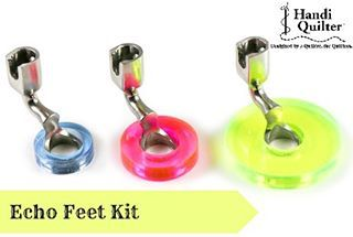 #featurethursday  The Echo Feet Kit is a set of three feet, each fitted with an acrylic ring that extends the width of the hopping foot. The feet provide a fixed interval to use when echo quilting around a motif or using rulers. A super cool accessory for your Handi Quilter Machine! #handiquilter #handiquilteraccessories #echofeet #quilting