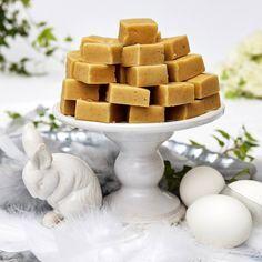 Krämig och mjuk vaniljfudge som smälter i munnen.